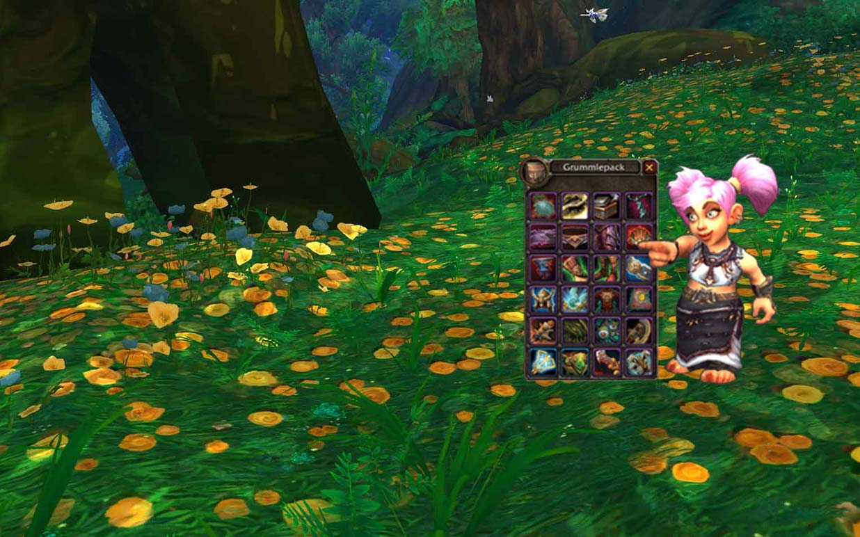 Gnome with open bags in Warcraft