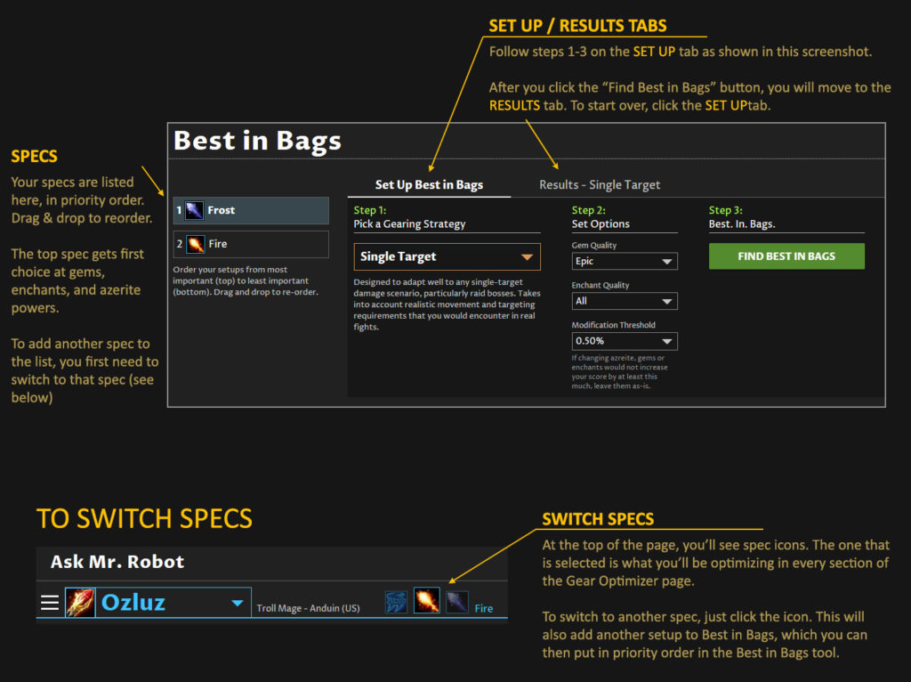 Best in Bags Setup - recommending the top gear from your bags