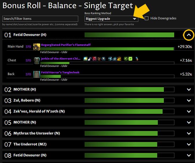 Find Upgrades - bonus rolls uldir and mythic