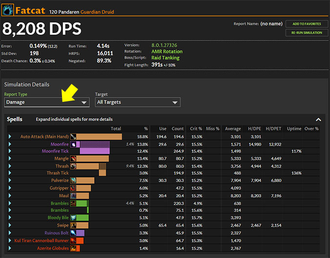 Tank simulations DPS report