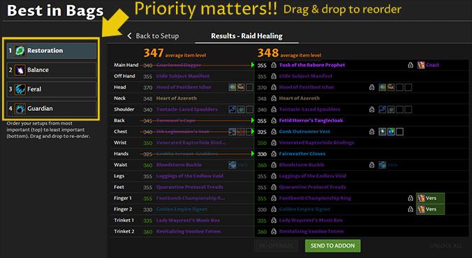 Best in Bags priority order