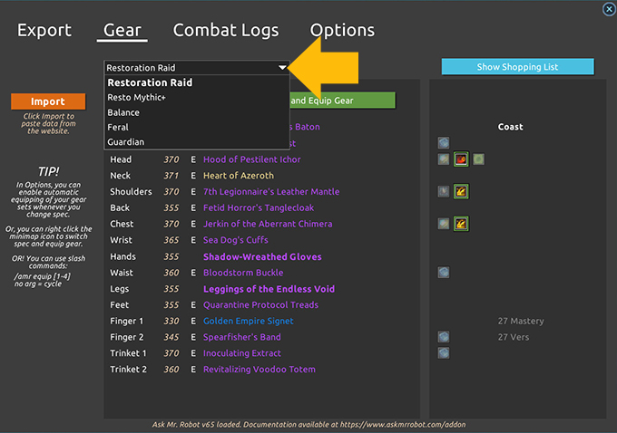 Addon gear sets multiple specs in game