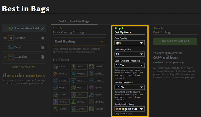Best in Bags multiple specs azerite gem enchant threshold