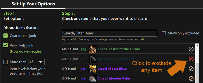Worst in Bags - Exclude WoW Gear