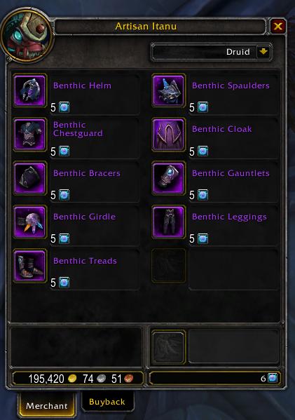 Benthic gear vendor - patch 8.2