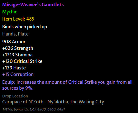 Corrupted gear in patch 8.3 - How it works