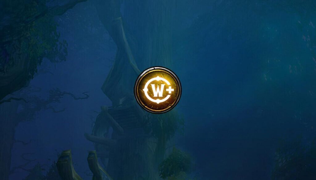 Blue background with yellow warcraft plus symbol