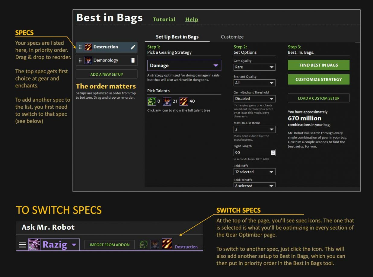 Best in Bags setup for TBC, optimizing TBC Classic Gear