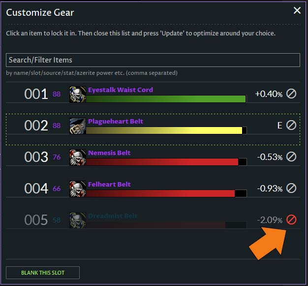 TBC Classic - how to exclude gear